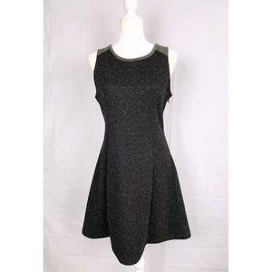 Black Speckled Fit Flared Dress
